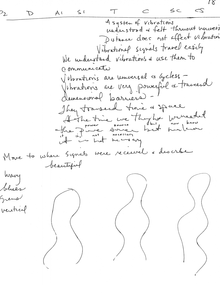 """Page 18 from this session shows the Site Impressions (SI) column, also known as the Emotional Impact (EI) column. This column contains descriptions of how someone at the target site feels or thinks. It can effectively be used as a """"mind-reading tool."""" Note how the handwriting begins to become nearly illegible as the viewer gets more and more contact with the target. Bilocation can cause the viewer to stop reporting altogether. This is usually discouraged by the monitor, and the viewer is encouraged to keep writing everything down! After the session was over, the viewer went through the session while the information was still fresh, and rewrote words that were illegible, for the sake of good recordkeeping. Page 18 also gives a small sample of the actual scientific information gained in this session. Who knows? The information in this session may someday prove to be helpful as we advance in space travel and interstellar communications."""